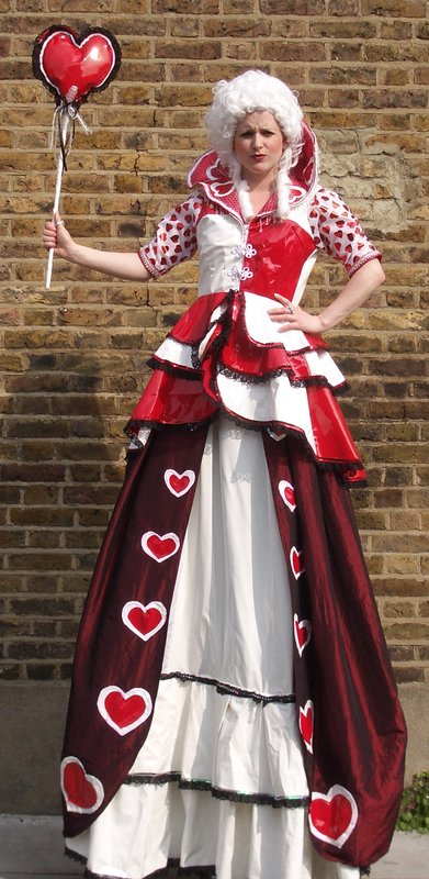 Queen of Hearts  stiltwalker - outdoor shot