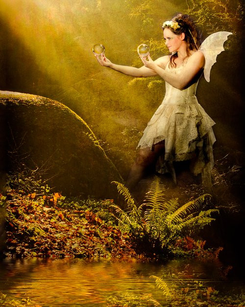 autumn woodland fairy contact juggler in glade