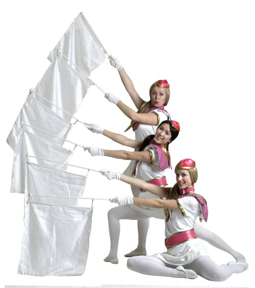 Stilt Walker Air Hostesses with flags