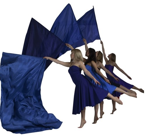 Blue Costume Flag Dancers