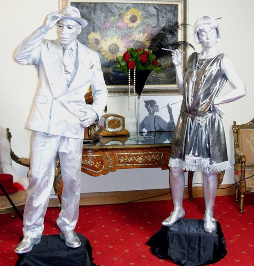 Silver 1920's Statues