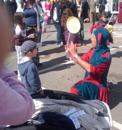 Juggling Jester with child