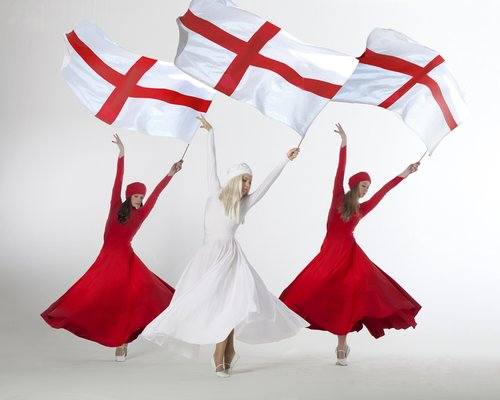 red and white flag dancers with St George Flag