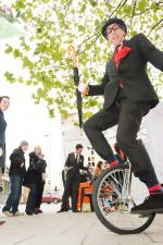 Unicycling Gent on the move