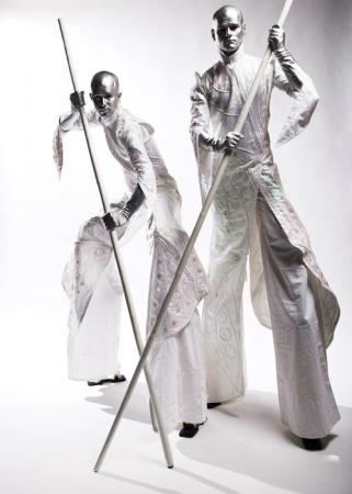 silver stiltwalkers